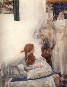 Here in Sir W. Russell Flint's famous painting, Morgan scandalises a nun with her magic.