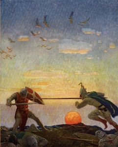 This N.C. Wyeth illustration also served as inspiration for my story, and was originally featured in Sidney Lanier's classic book, The Boy's King Arthur. N. C. Wyeth is also well-known for his art featuring King Arthur, and was actually a student of Howard Pyle.